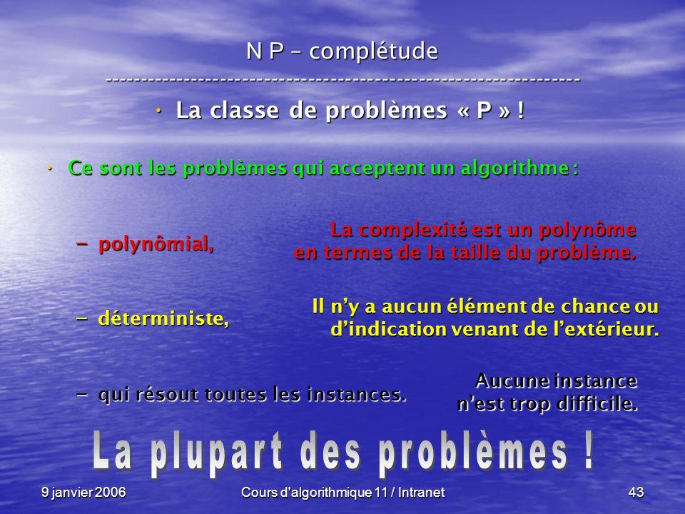 La classe de problèmes « P » ! La plupart des problèmes !