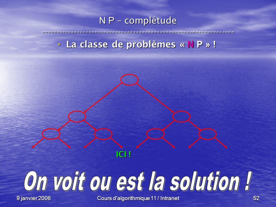 La classe de problèmes « N P » ! On voit ou est la solution !