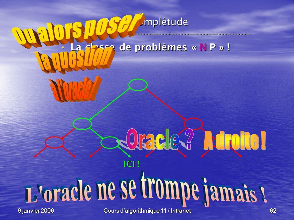 La classe de problèmes « N P » ! L oracle ne se trompe jamais !