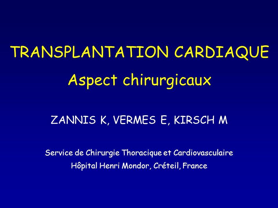 TRANSPLANTATION CARDIAQUE Aspect chirurgicaux