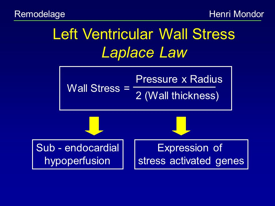 Left Ventricular Wall Stress Laplace Law