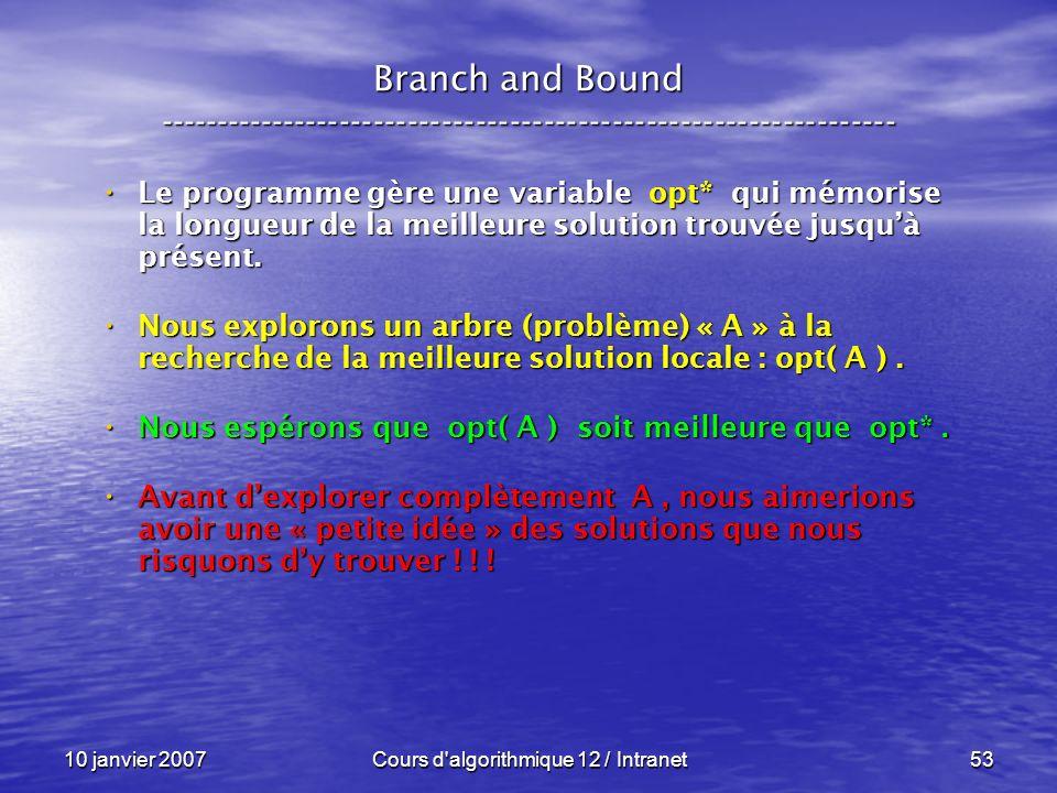 Cours d algorithmique 12 / Intranet