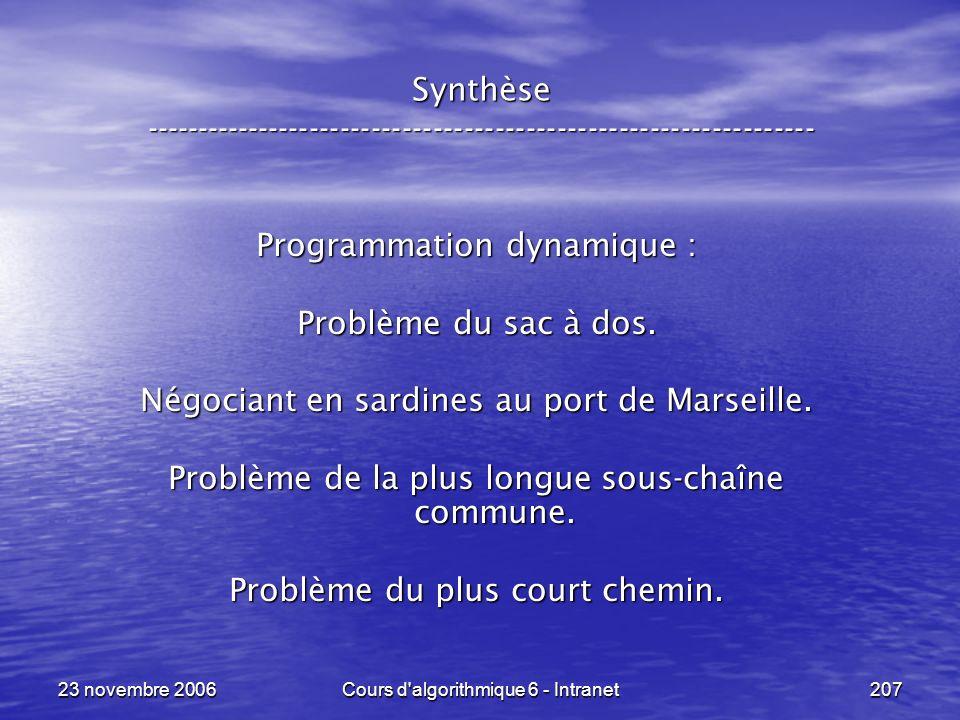 Programmation dynamique : Problème du sac à dos.