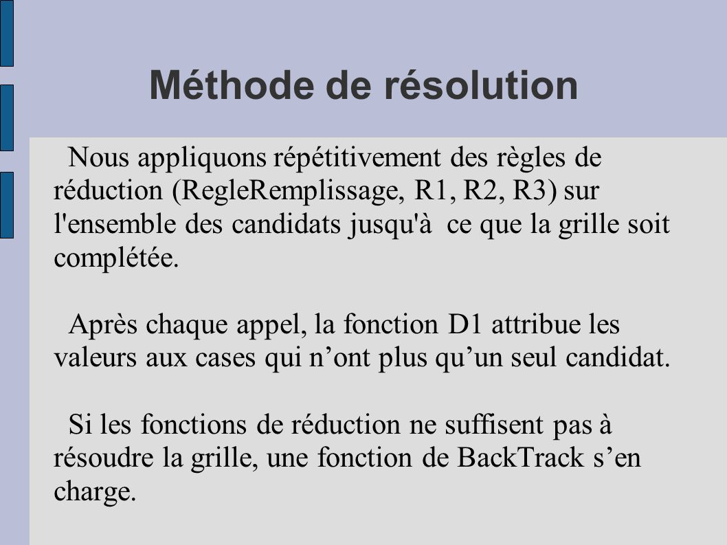Méthode de résolution