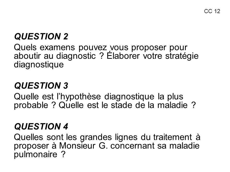 CC 12 QUESTION 2. Quels examens pouvez vous proposer pour aboutir au diagnostic Élaborer votre stratégie diagnostique.