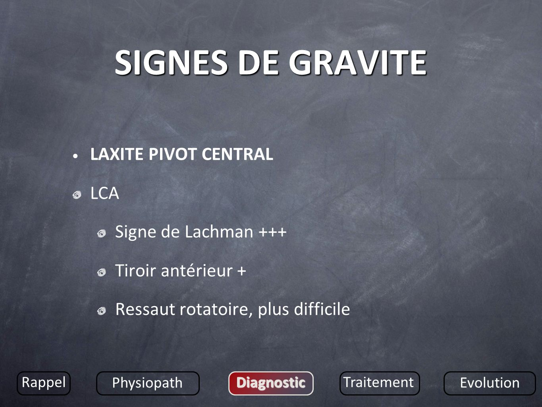 SIGNES DE GRAVITE LAXITE PIVOT CENTRAL LCA Signe de Lachman +++