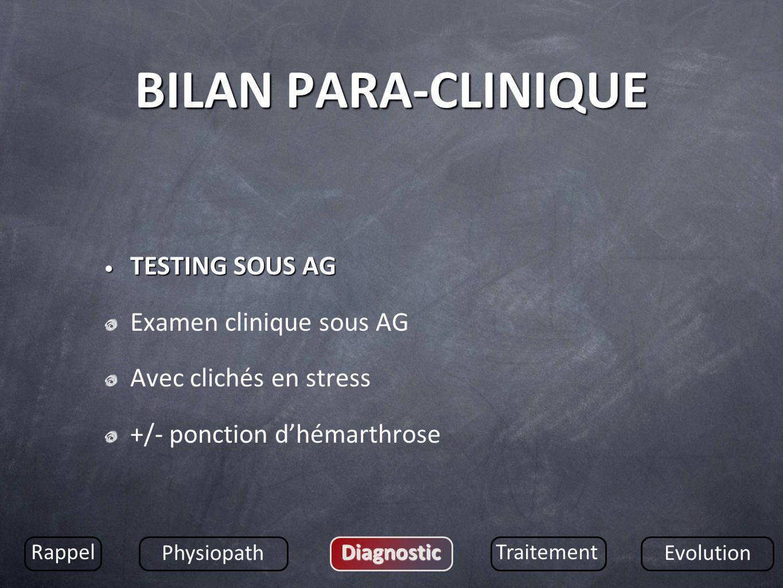 BILAN PARA-CLINIQUE TESTING SOUS AG Examen clinique sous AG