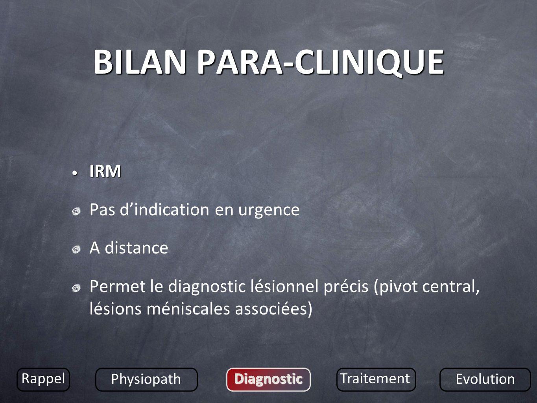 BILAN PARA-CLINIQUE IRM Pas d'indication en urgence A distance