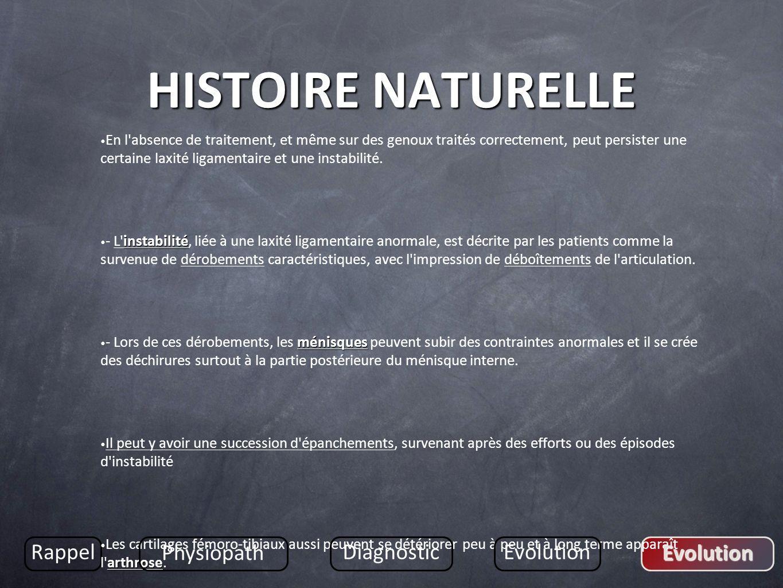 HISTOIRE NATURELLE Rappel Physiopath Diagnostic Evolution Evolution