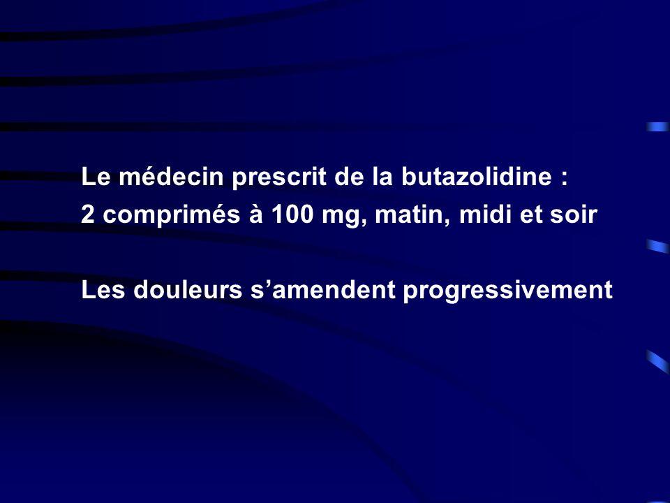 Le médecin prescrit de la butazolidine :