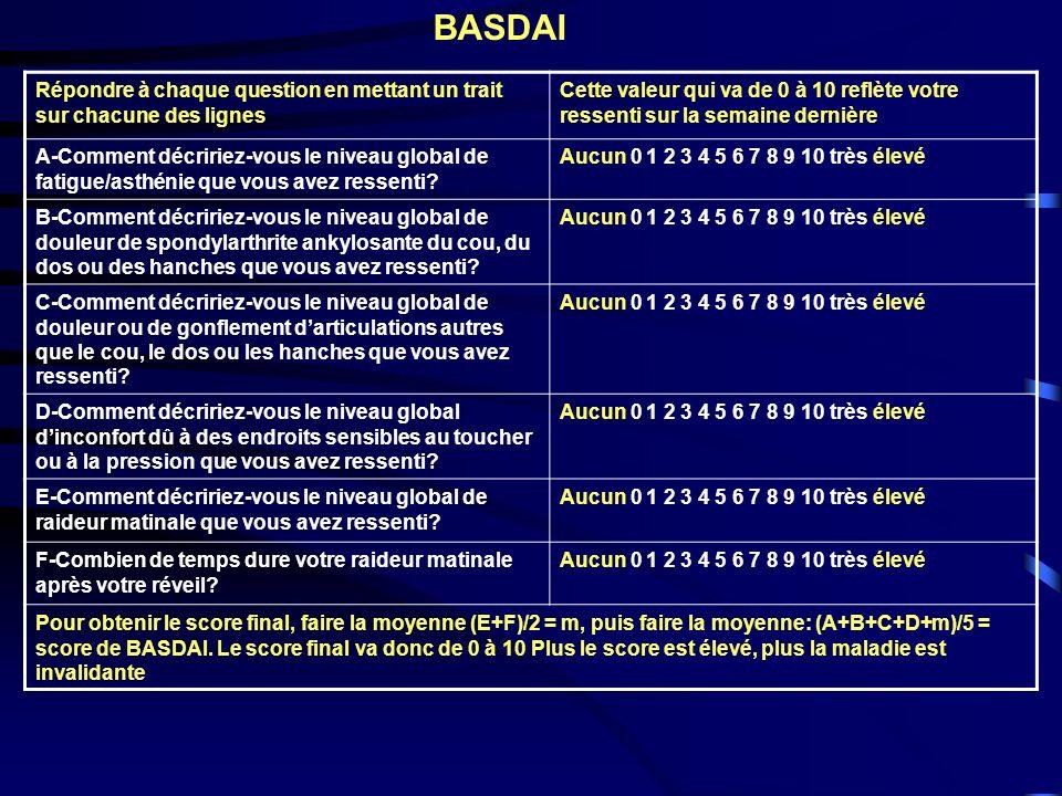 BASDAI Répondre à chaque question en mettant un trait sur chacune des lignes.