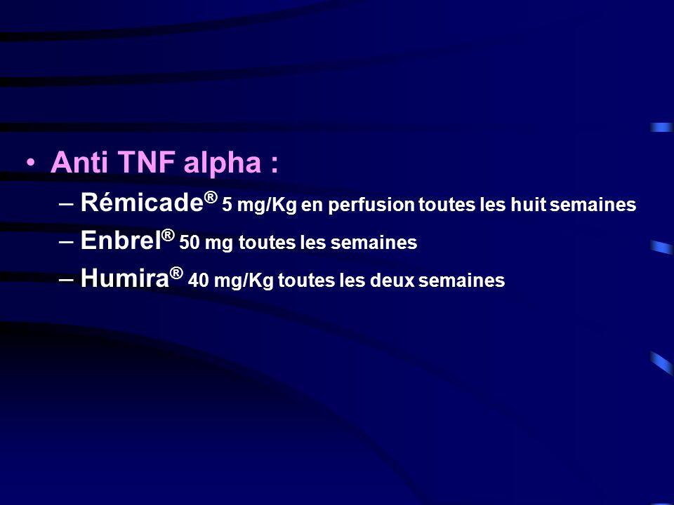 Anti TNF alpha : Rémicade® 5 mg/Kg en perfusion toutes les huit semaines. Enbrel® 50 mg toutes les semaines.