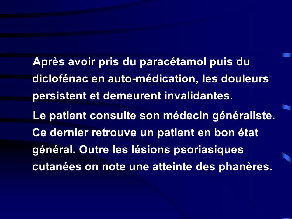 Après avoir pris du paracétamol puis du diclofénac en auto-médication, les douleurs persistent et demeurent invalidantes.