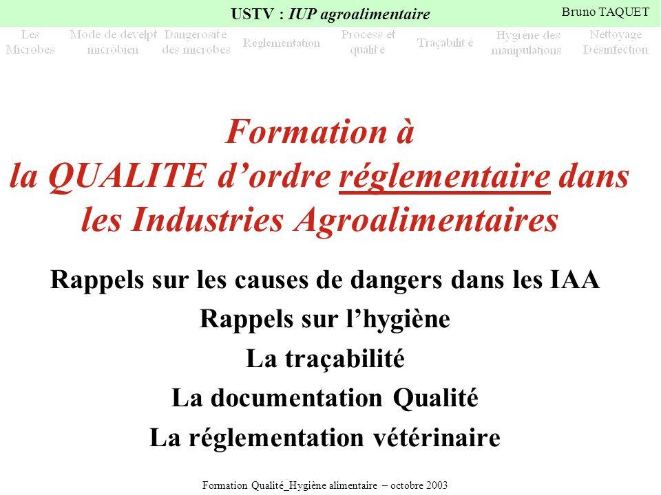 Formation à la QUALITE d'ordre réglementaire dans les Industries Agroalimentaires