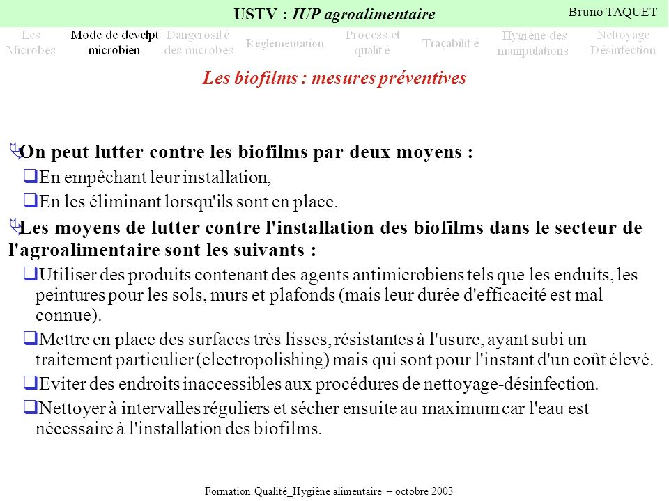 Les biofilms : mesures préventives