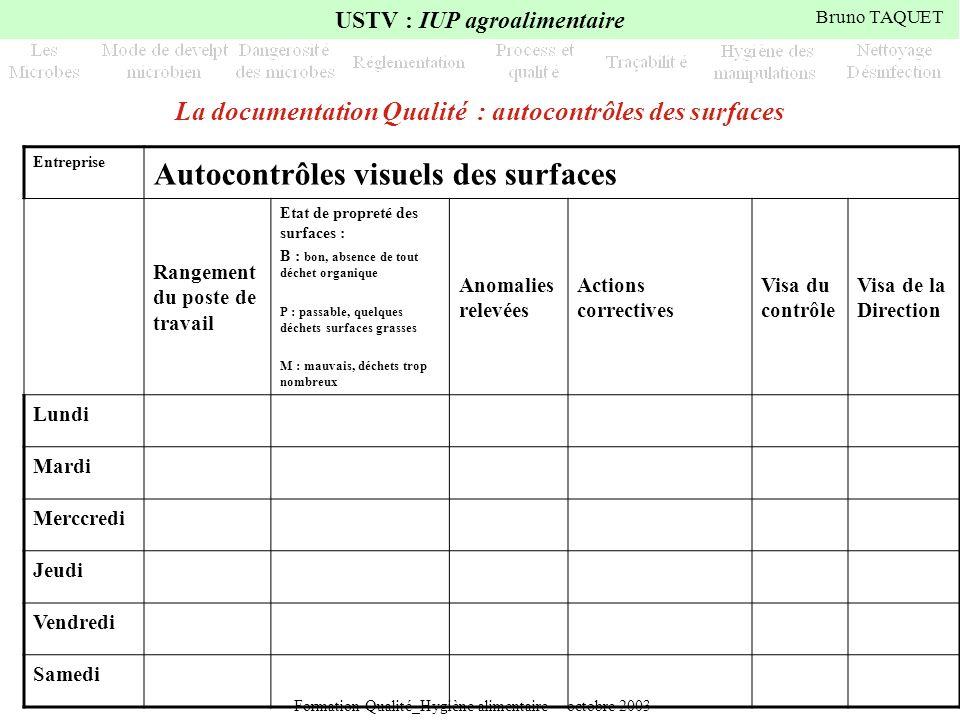 La documentation Qualité : autocontrôles des surfaces