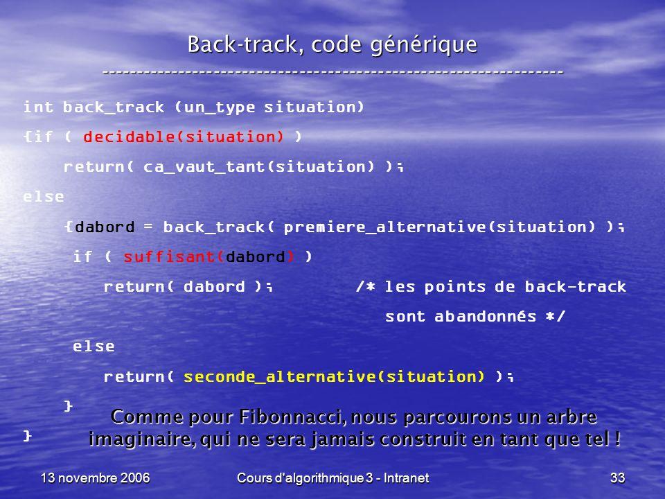 Back-track, code générique -----------------------------------------------------------------