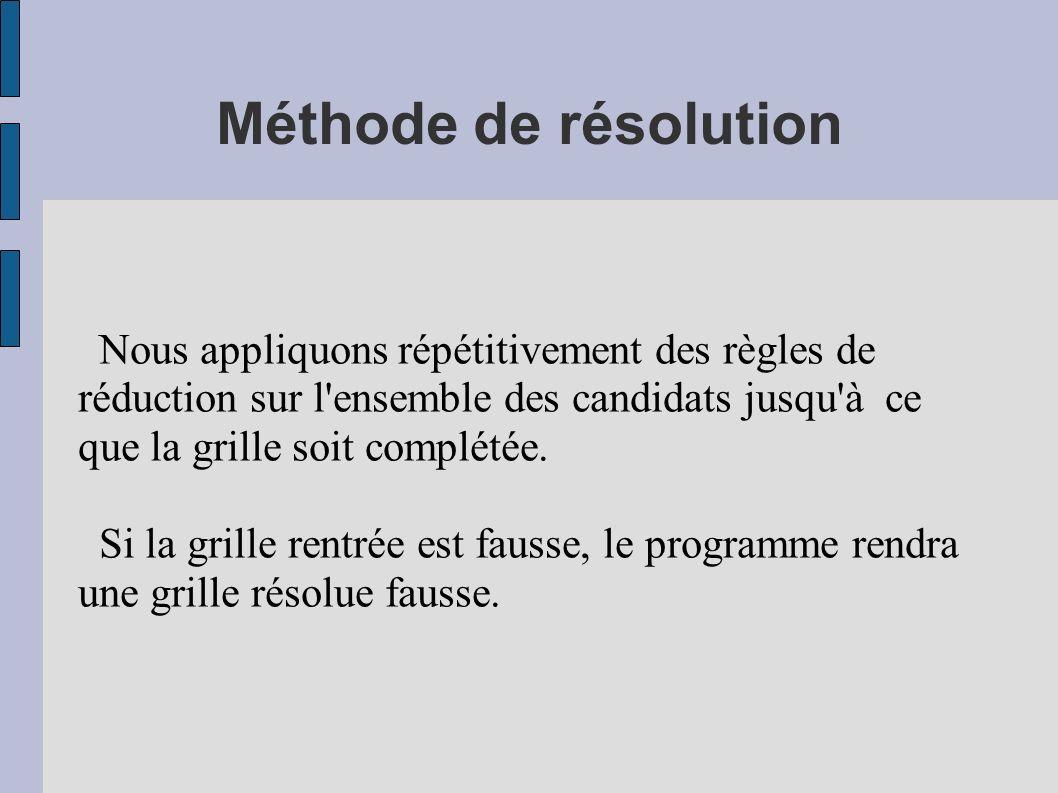 Méthode de résolution Nous appliquons répétitivement des règles de réduction sur l ensemble des candidats jusqu à ce que la grille soit complétée.