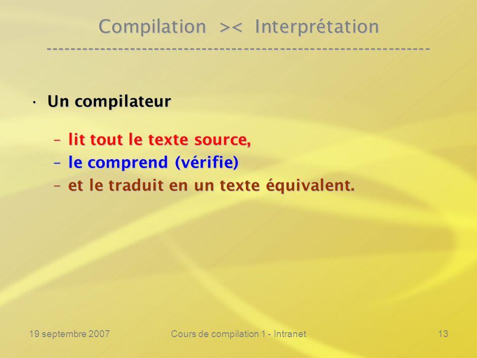 Cours de compilation 1 - Intranet