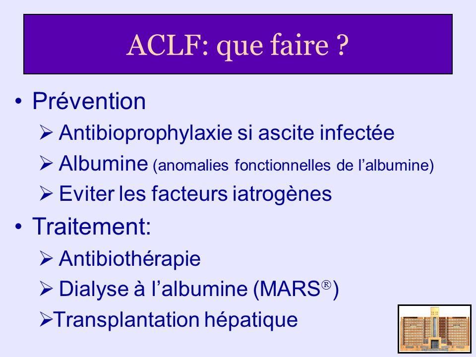 ACLF: que faire Prévention Traitement: