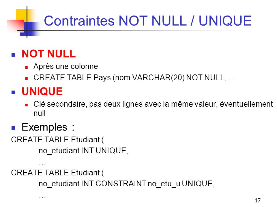 Contraintes NOT NULL / UNIQUE