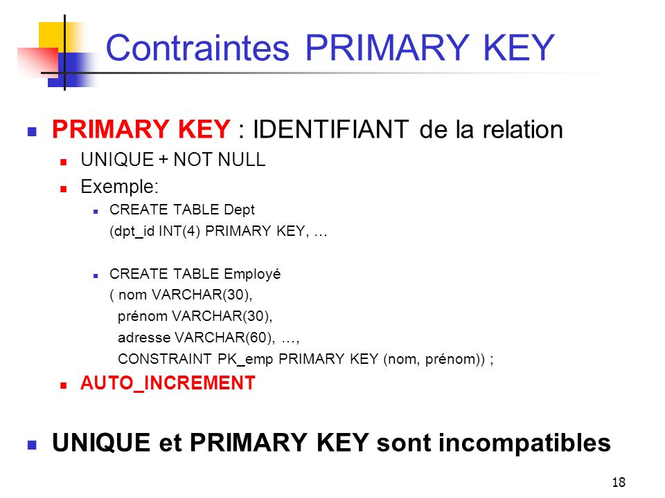 Contraintes PRIMARY KEY