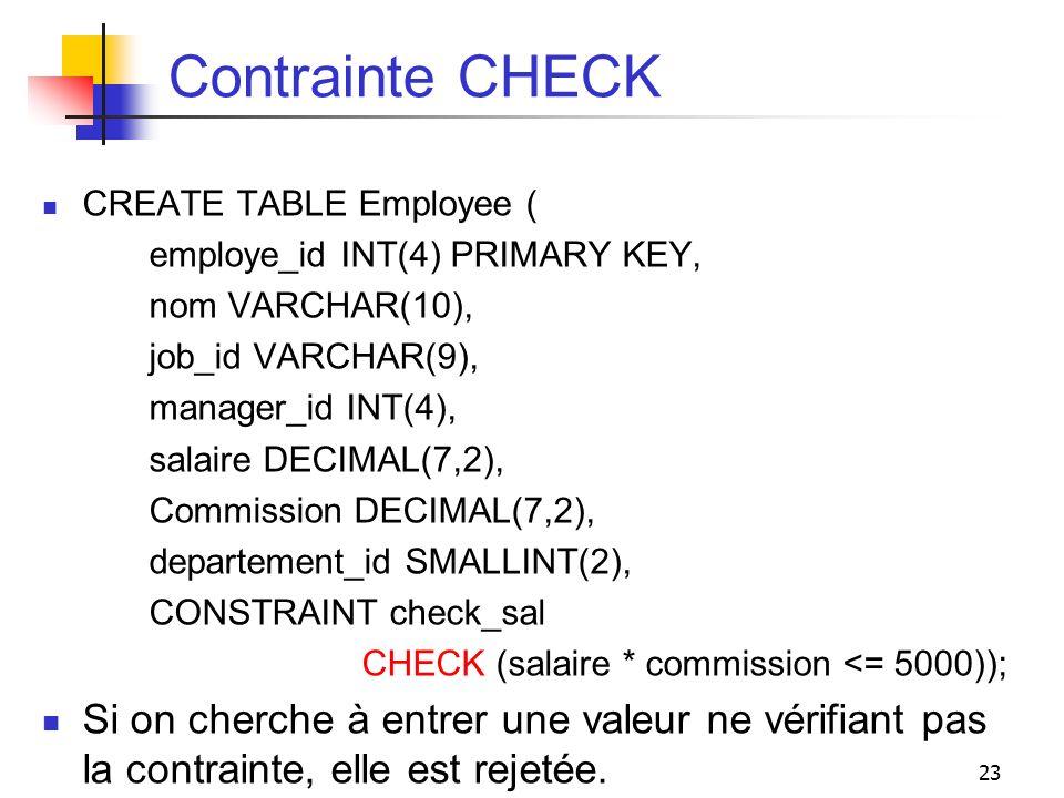 Contrainte CHECK CREATE TABLE Employee ( employe_id INT(4) PRIMARY KEY, nom VARCHAR(10), job_id VARCHAR(9),