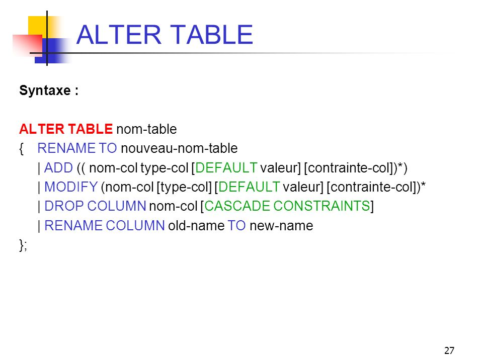 ALTER TABLE Syntaxe : ALTER TABLE nom-table