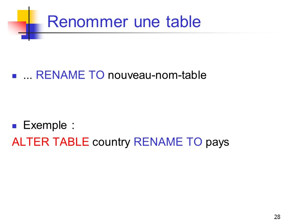 Renommer une table ... RENAME TO nouveau-nom-table Exemple :