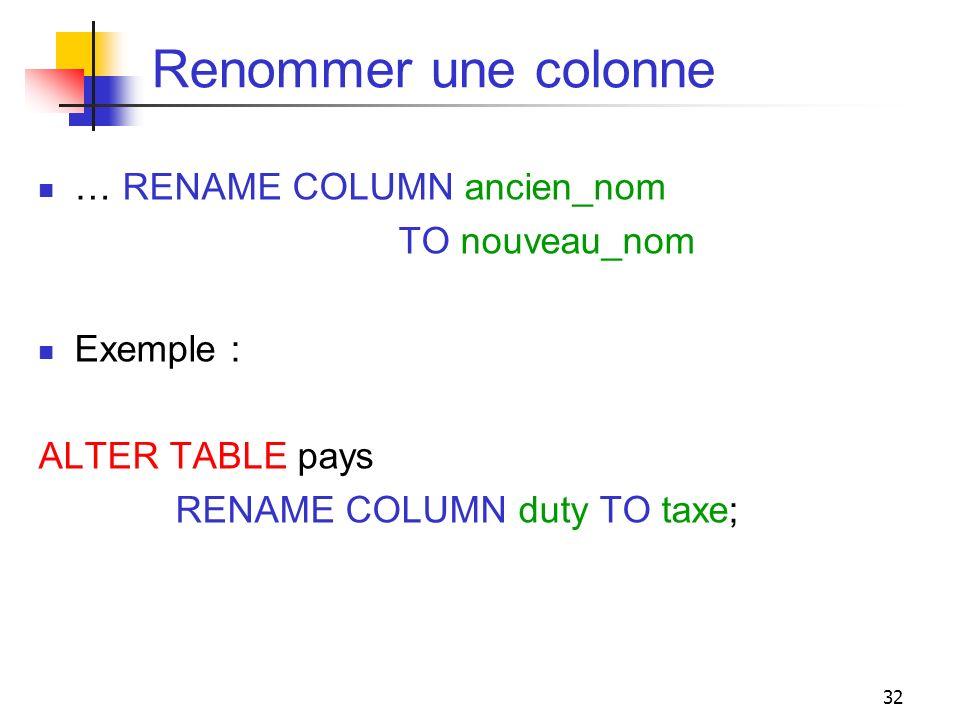 Renommer une colonne … RENAME COLUMN ancien_nom TO nouveau_nom