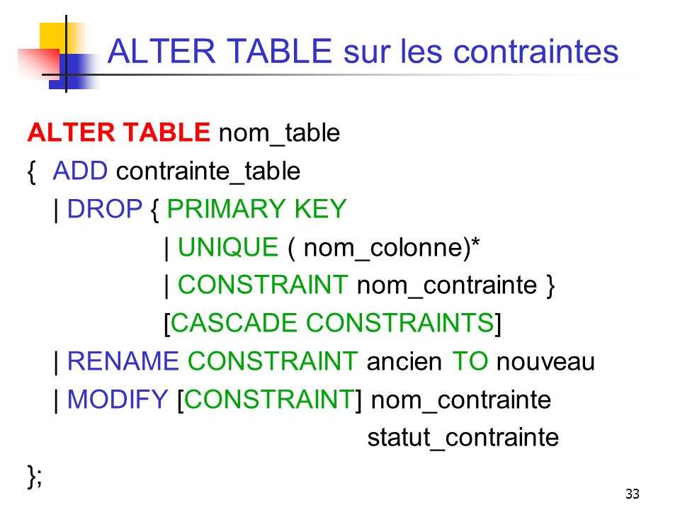 ALTER TABLE sur les contraintes
