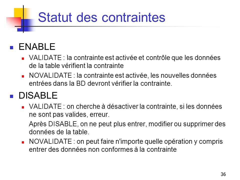Statut des contraintes
