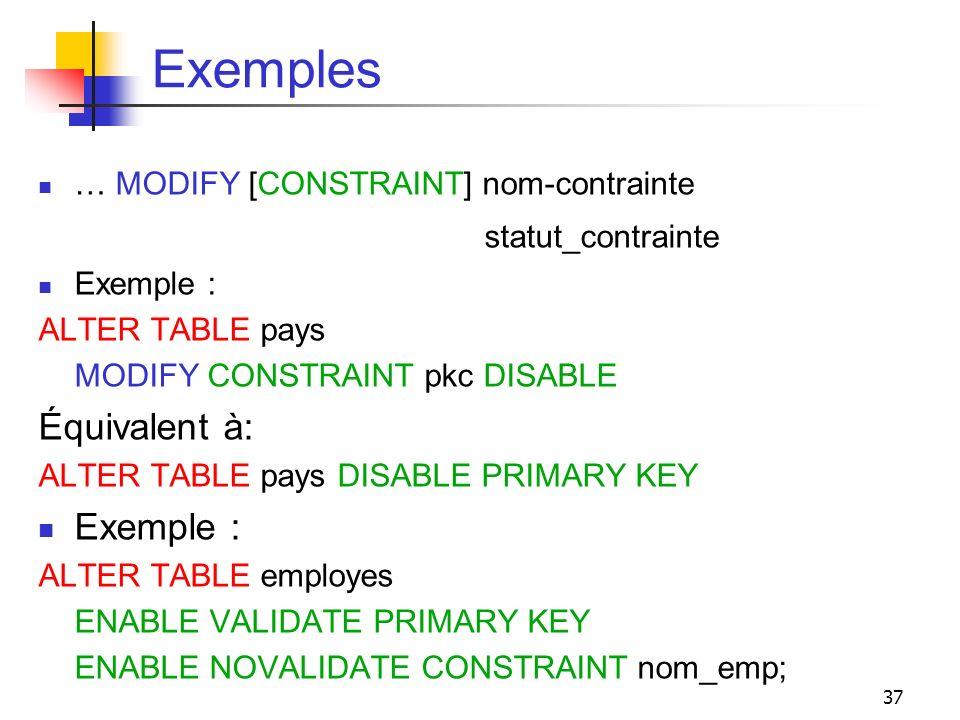 Exemples statut_contrainte Équivalent à: