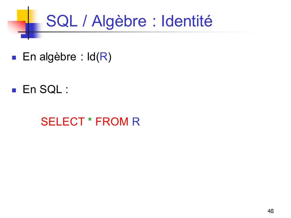SQL / Algèbre : Identité