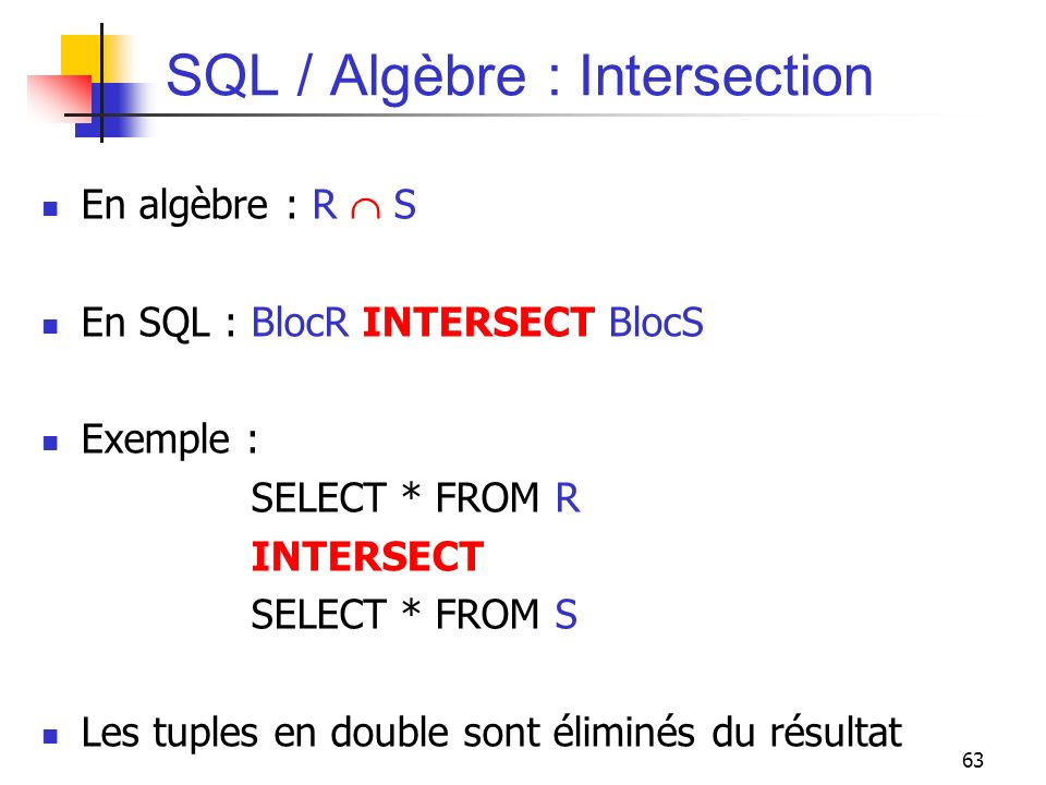 SQL / Algèbre : Intersection