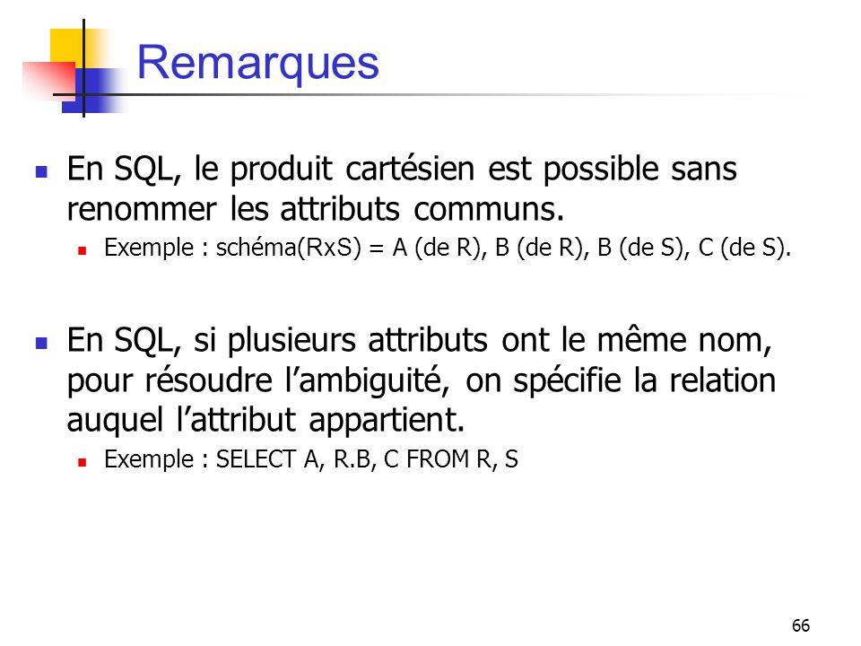 Remarques En SQL, le produit cartésien est possible sans renommer les attributs communs.