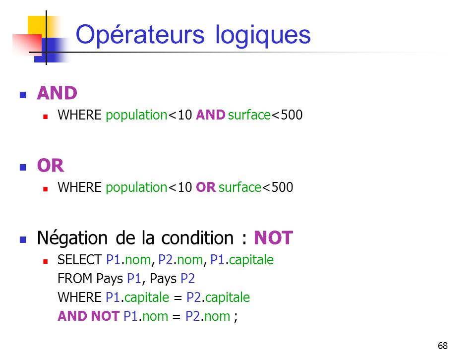 Opérateurs logiques AND OR Négation de la condition : NOT