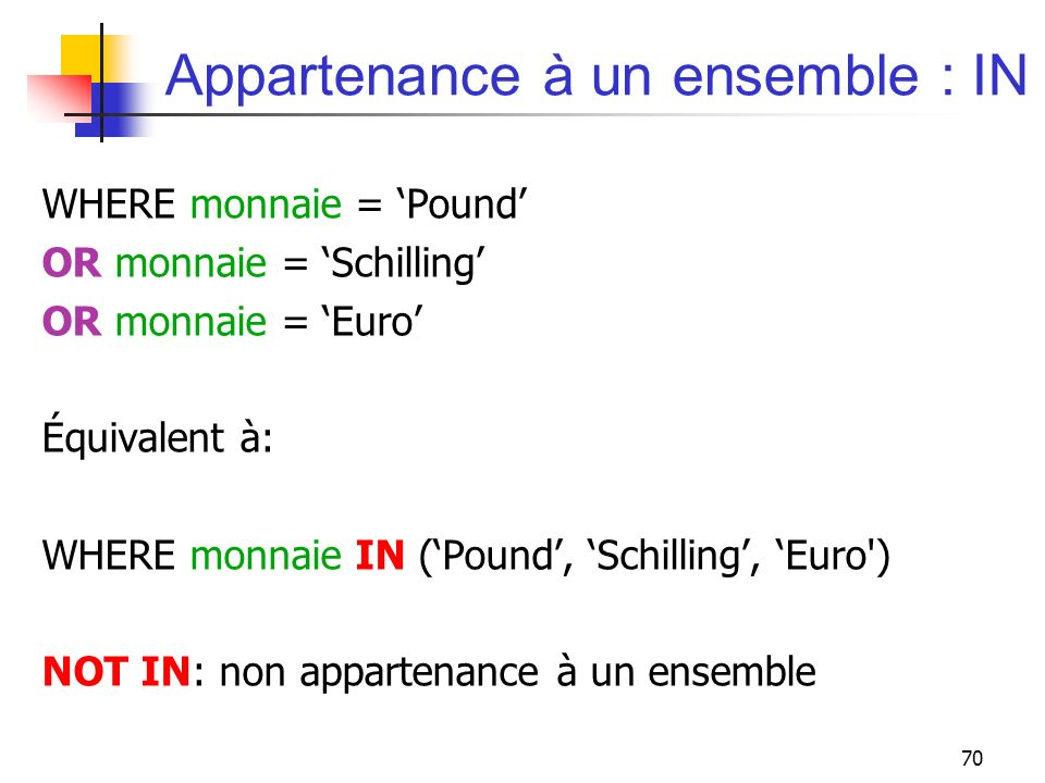 Appartenance à un ensemble : IN