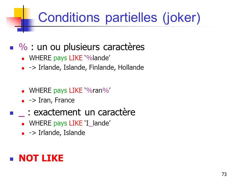 Conditions partielles (joker)