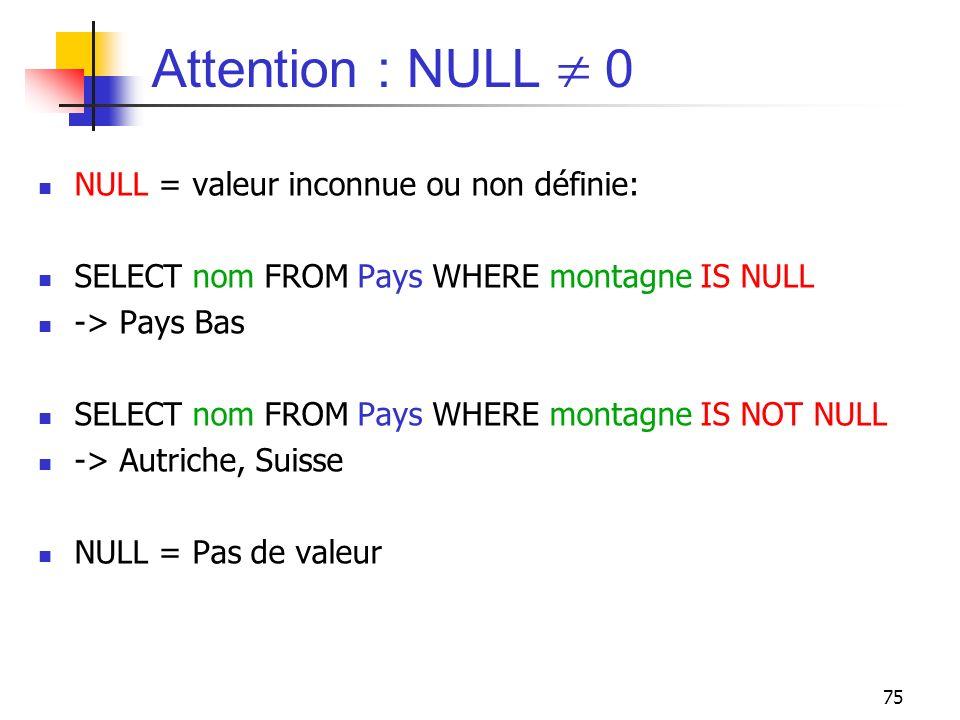 Attention : NULL  0 NULL = valeur inconnue ou non définie:
