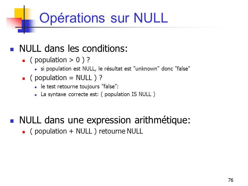 Opérations sur NULL NULL dans les conditions: