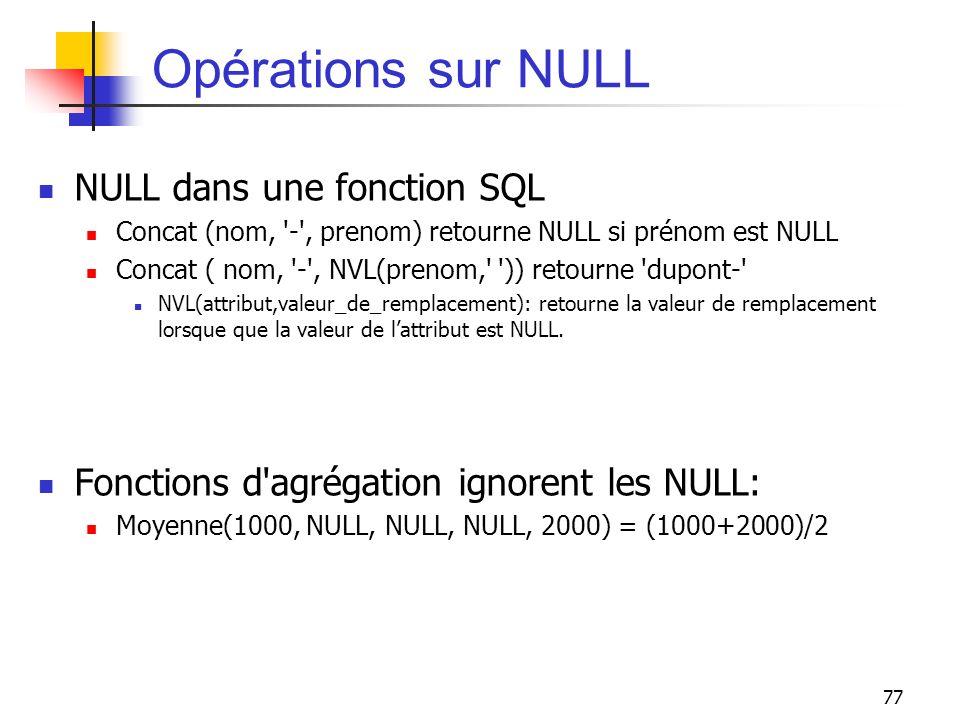 Opérations sur NULL NULL dans une fonction SQL