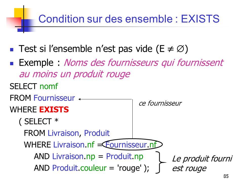 Condition sur des ensemble : EXISTS