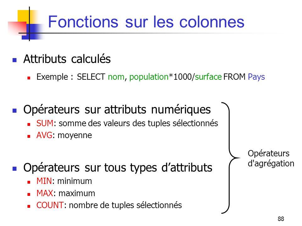 Fonctions sur les colonnes