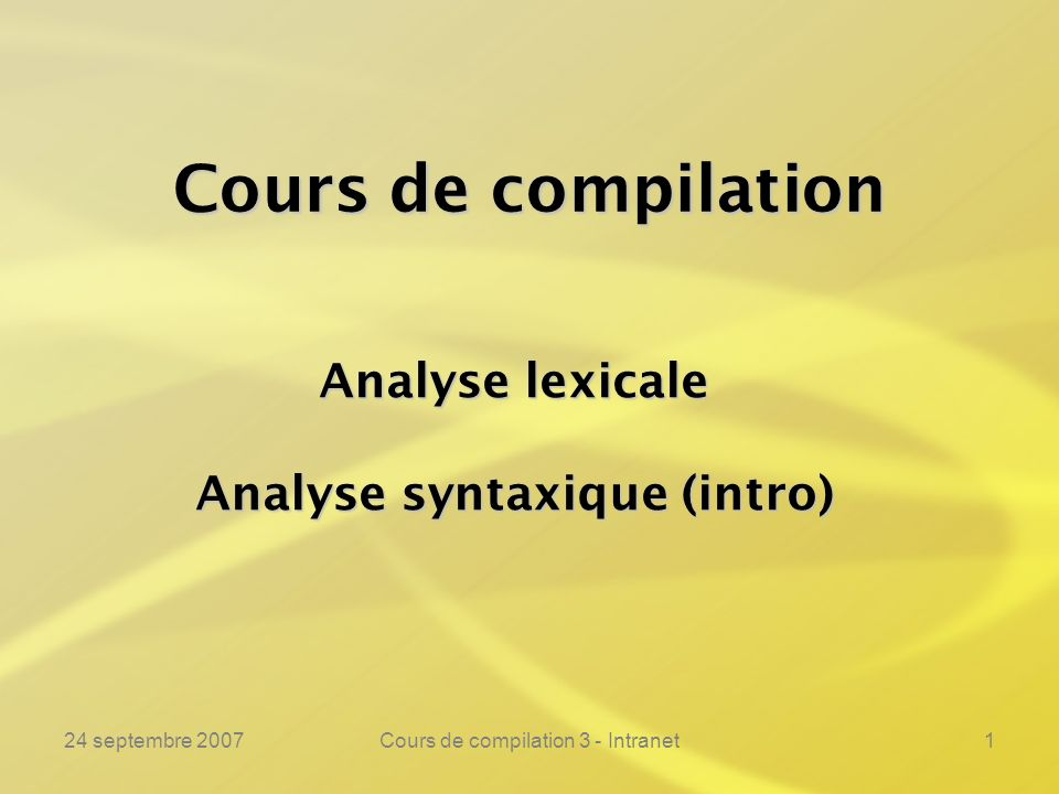 Analyse syntaxique (intro)