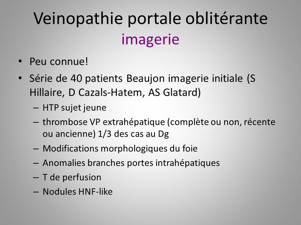 Veinopathie portale oblitérante imagerie