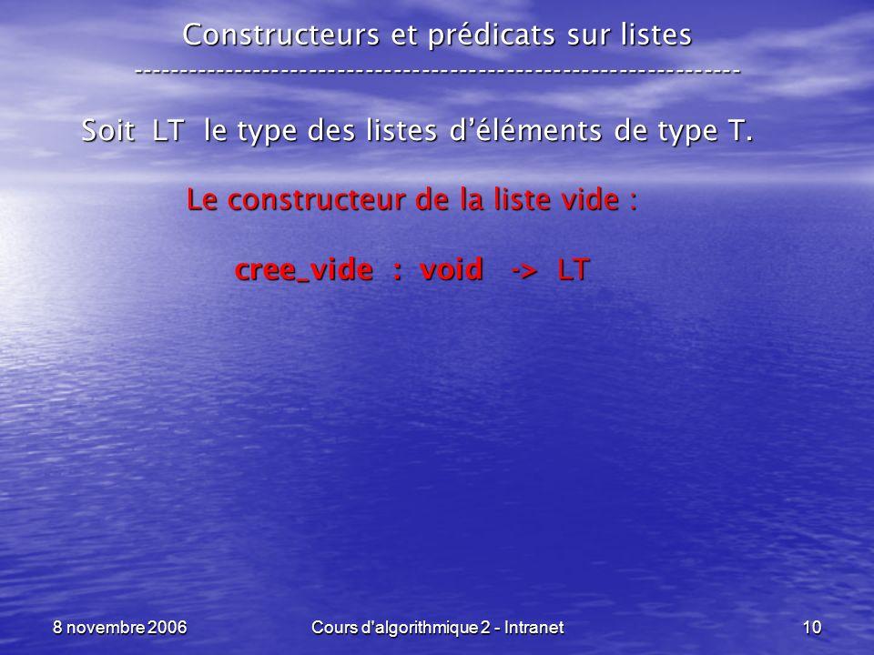 Soit LT le type des listes d'éléments de type T.
