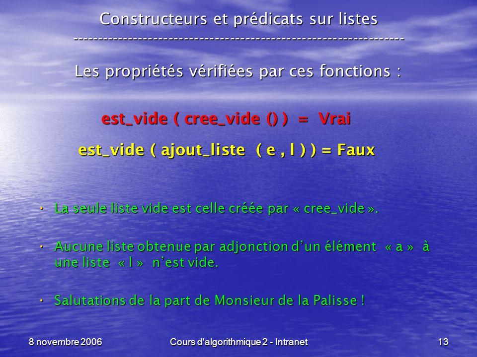 est_vide ( ajout_liste ( e , l ) ) = Faux