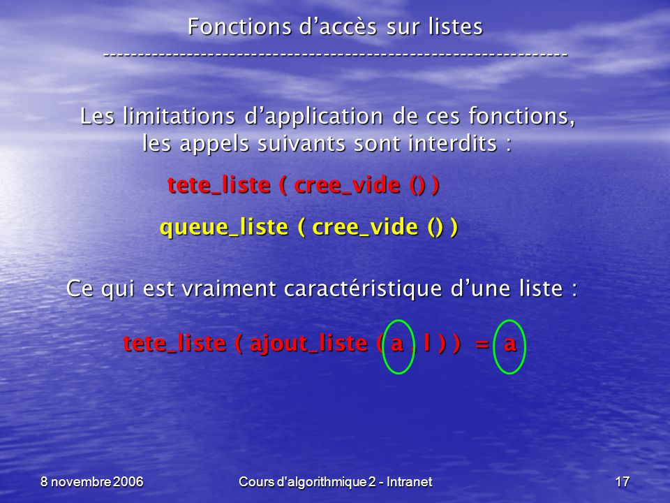 Les limitations d'application de ces fonctions,