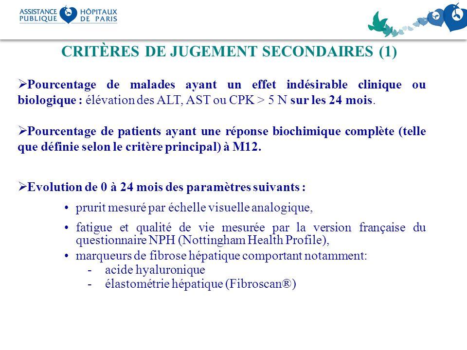 CRITÈRES DE JUGEMENT SECONDAIRES (1)
